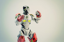 White-red Robot Boxer In Rack Stand, 3d Rendering