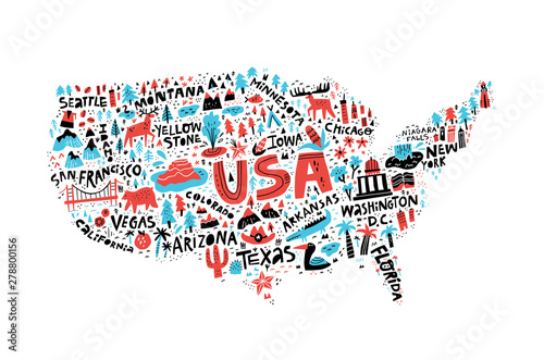 USA map flat hand drawn vector illustration Wallpaper Mural