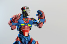 Blue-red Robot Boxer In Rack Stand, 3d Rendering