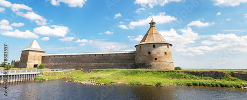 Stickers pour portes Gris Shlisselburg, Russia - June 22, 2019: Historical fortress Oreshek is an ancient Russian fortress. Shlisselburg Fortress near the St. Petersburg, Russia. Founded in 1323