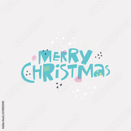 Merry Christmas wish quote hand drawn lettering