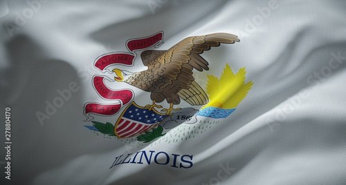 Official flag of the state of Illinois. United States of America. Fototapeta