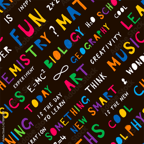School Education Flat Vector Seamless Pattern Cool Smart Art Fun Hand Drawn Phrases On Black Background University Subjects Names Backdrop Wallpaper Wrapping Paper Textile Cartoon Design Buy This Stock Vector And