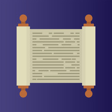 Flat Icon Of Torah Scroll