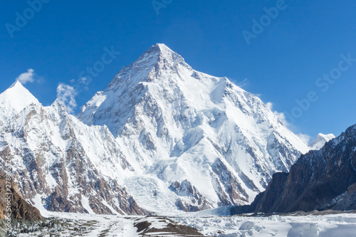 Fototapeta K2 mountain peak, second highest mountain in the world, K2 trek, Pakistan, Asia obraz na płótnie