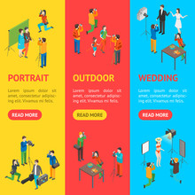 Cartoon Characters Professional Photographers And Fashion Models Banner Vecrtical Set. Vector