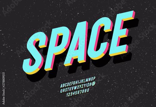 Fényképezés Space typeface 3d bold colorful style