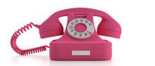 Pink Old Telephone Isolated On White Background. 3d Illustration