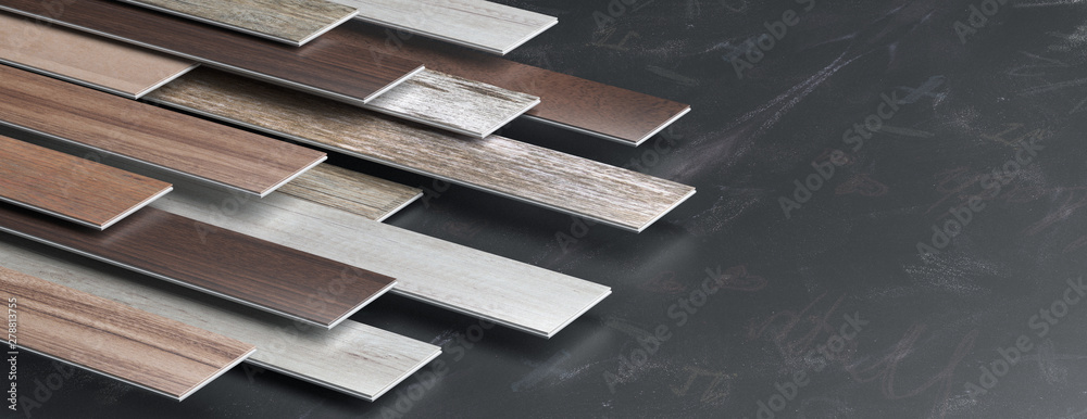 Fototapeta Laminate floor on blackboard background. 3d illustration