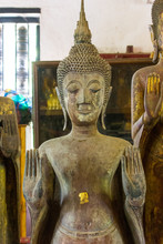 Lan Chang Buddha Statue Art In Various Temples In Luang Prabang, Laos.