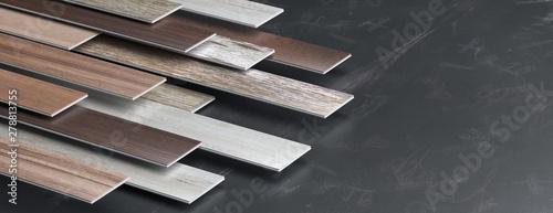 Obraz Laminate floor on blackboard background. 3d illustration - fototapety do salonu