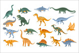 Fototapeta Dinusie - Jurassic Period Dinosaurs Set Flat Simplified Cartoon Style Bright Color Vector Illustration On White Background.