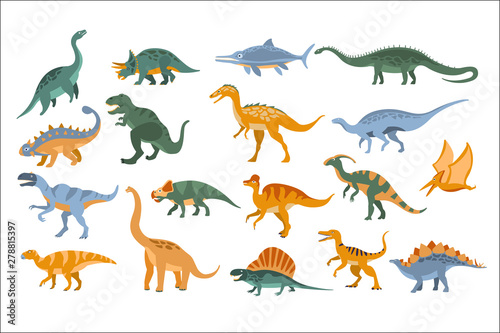 Tela Jurassic Period Dinosaurs Set Flat Simplified Cartoon Style Bright Color Vector Illustration On White Background