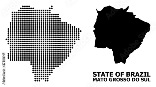 Fotografija  Dotted Pattern Map of Mato Grosso Do Sul State