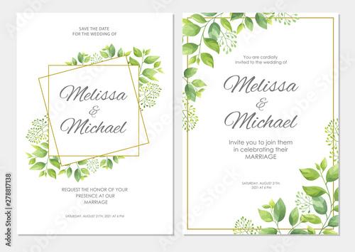 Panel Szklany Wedding Invitation Floral Invite Thank You