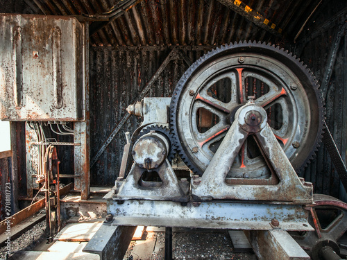 Aluminium Prints Old abandoned buildings Old elevator wheel - Urbex (HDR)