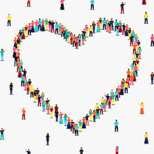 Heart Shape Frame Of Diverse People Group