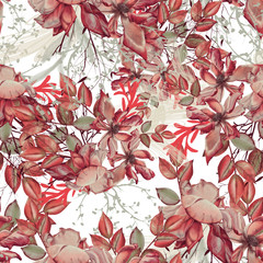 FototapetaBackground of roses, twigs and leaves. Seamless pattern.