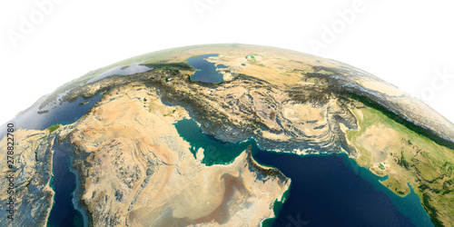 Photo  Detailed Earth on white background. Persian Gulf