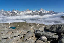 Morning Clouds Over The Valley Of Zermatt, View From Gornergrat To The North With Weisshorn, Zianlrothorn And Obergabelhorn