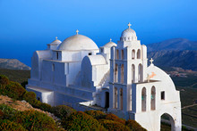 FOLEGANDROS ISLAND, GREECE.  The Church Of Panagia In Folegandros Island, One Of The Most Beautiful Churches Of The Aegean. Cyclades, Greece.