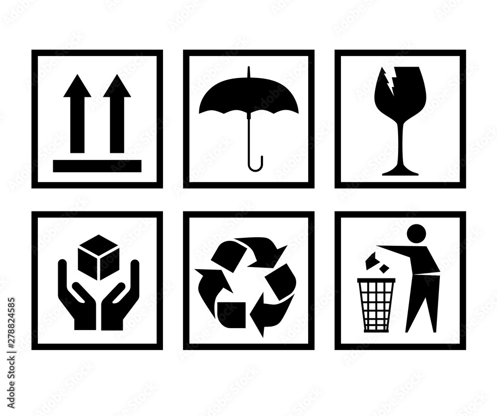 Fototapeta Handling packing icon set-fragile, recycle signs etc. - can be used on the box or packaging