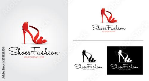 Obraz Shoes fashion creative and minimalist logo template Set - fototapety do salonu