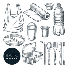 Plastic Waste, Vector Sketch Illustration. Hand Drawn Garbage And Trash Items. Nonrecyclable Material And Goods Icons