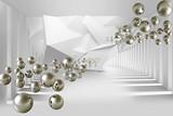 Fototapeta Do przedpokoju - Illustration of 3D crystall silver ball pattern on decorative silver background 3D wallpaper mural and tunnel