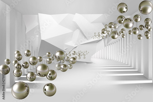 Illustration of 3D crystall silver ball pattern on decorative silver background 3D wallpaper mural and tunnel