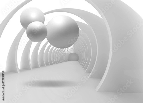 Illustration of 3D crystall ball pattern on decorative background 3D tunnel wallpaper. Graphical modern art