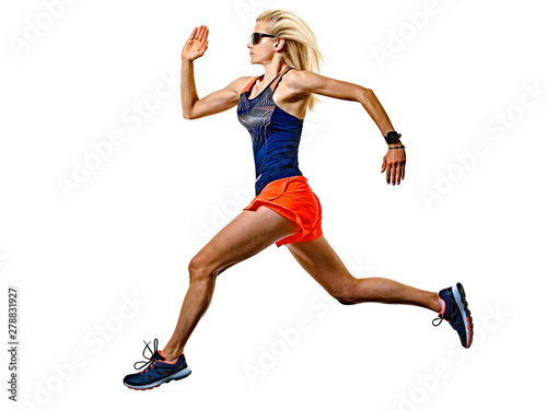 Foto one caucasian beautiful long blond hair woman runner jogger jogging running stud