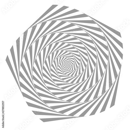 Poster Psychedelique Abstract illusion in motion. Hypnotic Black and White element .Optical illusion. Vector