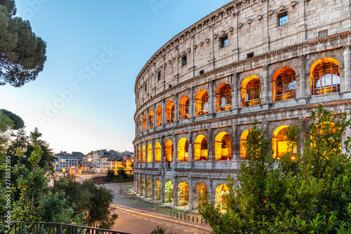 Garden Poster Old building Colosseum, or Coliseum. Morning sunrise at huge Roman amphitheatre, Rome, Italy.