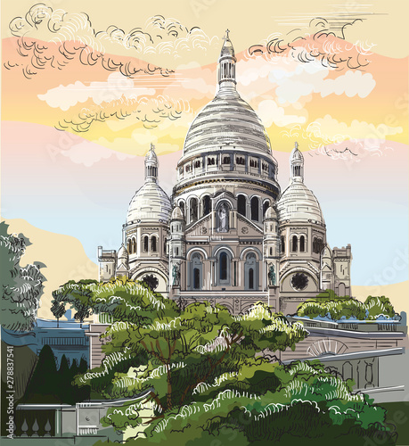 Photo  Colorful vector hand drawing Paris 9