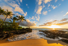 Secret Beach At Sunset, Maui, ...
