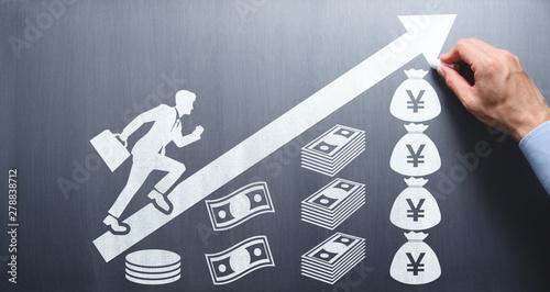 Valokuva Salary and savings increase concept