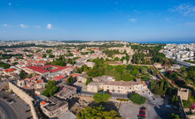 Aerial Birds Eye View Drone Photo Rhodes City Island, Dodecanese, Greece. Panorama With Ancient Old Fortress And Palace Of The Grand Master Of The Knights. Famous Tourist Destination In South Europe