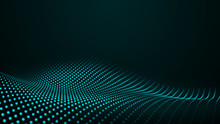 Glowing Abstract Digital Wave Particles. Futuristic Illustration. On Dark Background