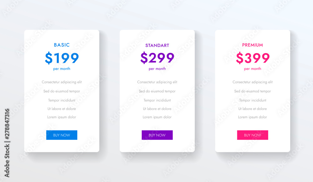 Fototapety, obrazy: Ui ux vector banners with hosting plans, price list, three tariffs, subscription. Vector colums elements for website or app.