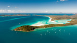 Hill Inlet from the air over Whitsunday Island - swirling white sands, sail boats
