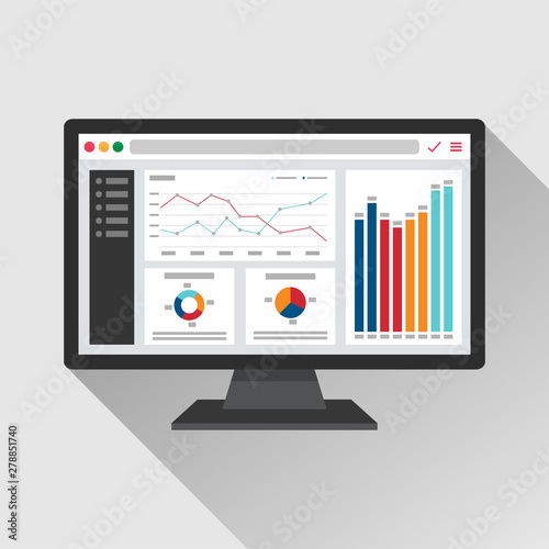 Web analytic information on Computer screen flat icon Canvas Print