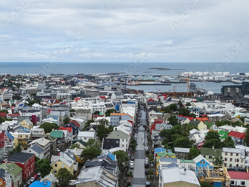 Fototapeta Panoramic view from hallgrimskirkja over the city reykjavik