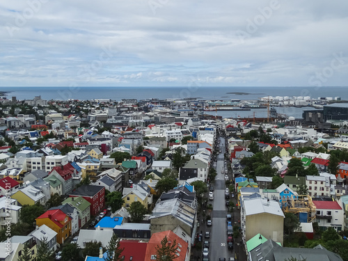 Fotografia, Obraz Panoramic view from hallgrimskirkja over the city reykjavik