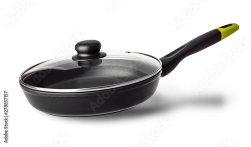 Fotomural  The frying pan with lid with shadow isolated on white background