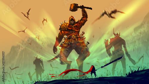 Cyfrowy styl projektowania ilustracji rycerza i wielkiego miecza przeciwko armiom demonów.
