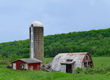 Decaying Farm Shed And Silo, W...