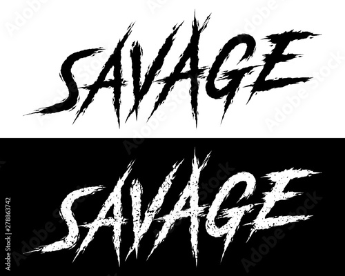 Savage Set Of 2 Brush Painted Letters On Isolated Background Black And White Solid And Distressed Vector Illustration For T Shirt Design Print Poster Icon Web Gym Fitness Wear Buy This