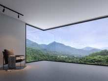 Minimalist Room Space With Nature View 3d Render,With A Dark Gray Tile Floor And White Wall. Decorated With Black Cloth Chairs,There Are Large  Window, Looking Out To See The Mountain.