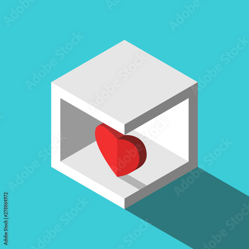 Fotografie, Tablou  Isometric heart in box